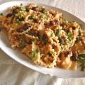 Reginelle salsa di melanzane, rucola, olive