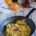 Straccetti di pollo cremosi all'arancia e pepe rosa