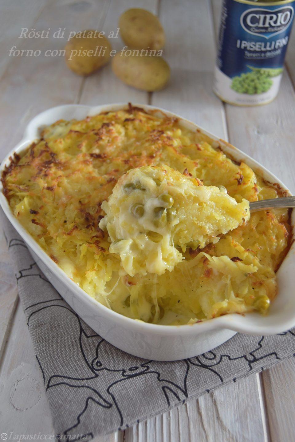 Rösti di patate al forno con piselli e fontina-ricetta veloce