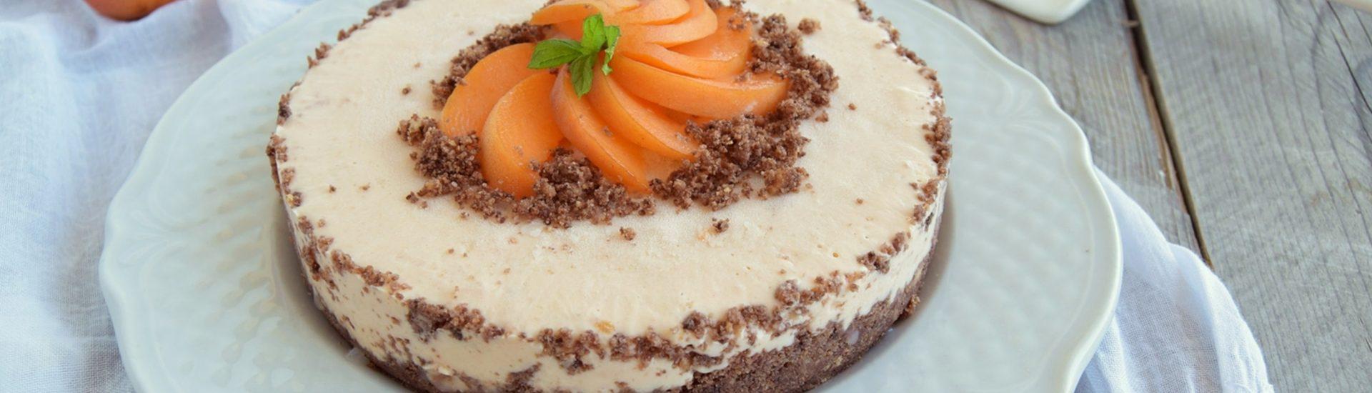 Torta fredda alle albicocche e cioccolato senza panna