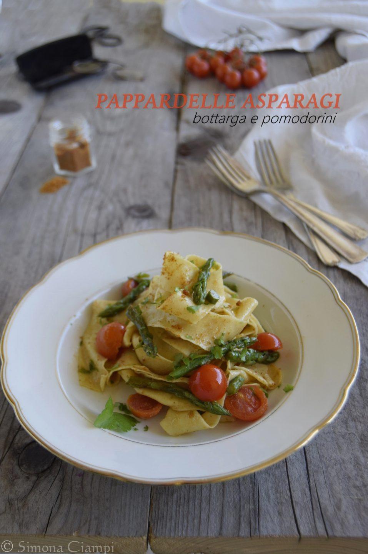 Pappardelle con asparagi, bottarga e pomodorini
