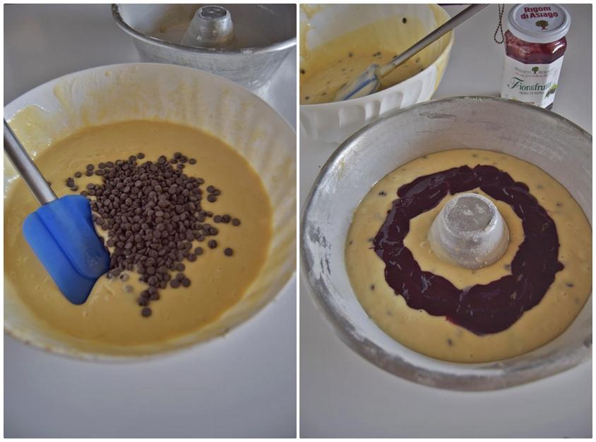 Ciambella allo yogurt con gocce di cioccolato e cuor di more