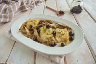 Baccalà in bianco con carciofi e olive