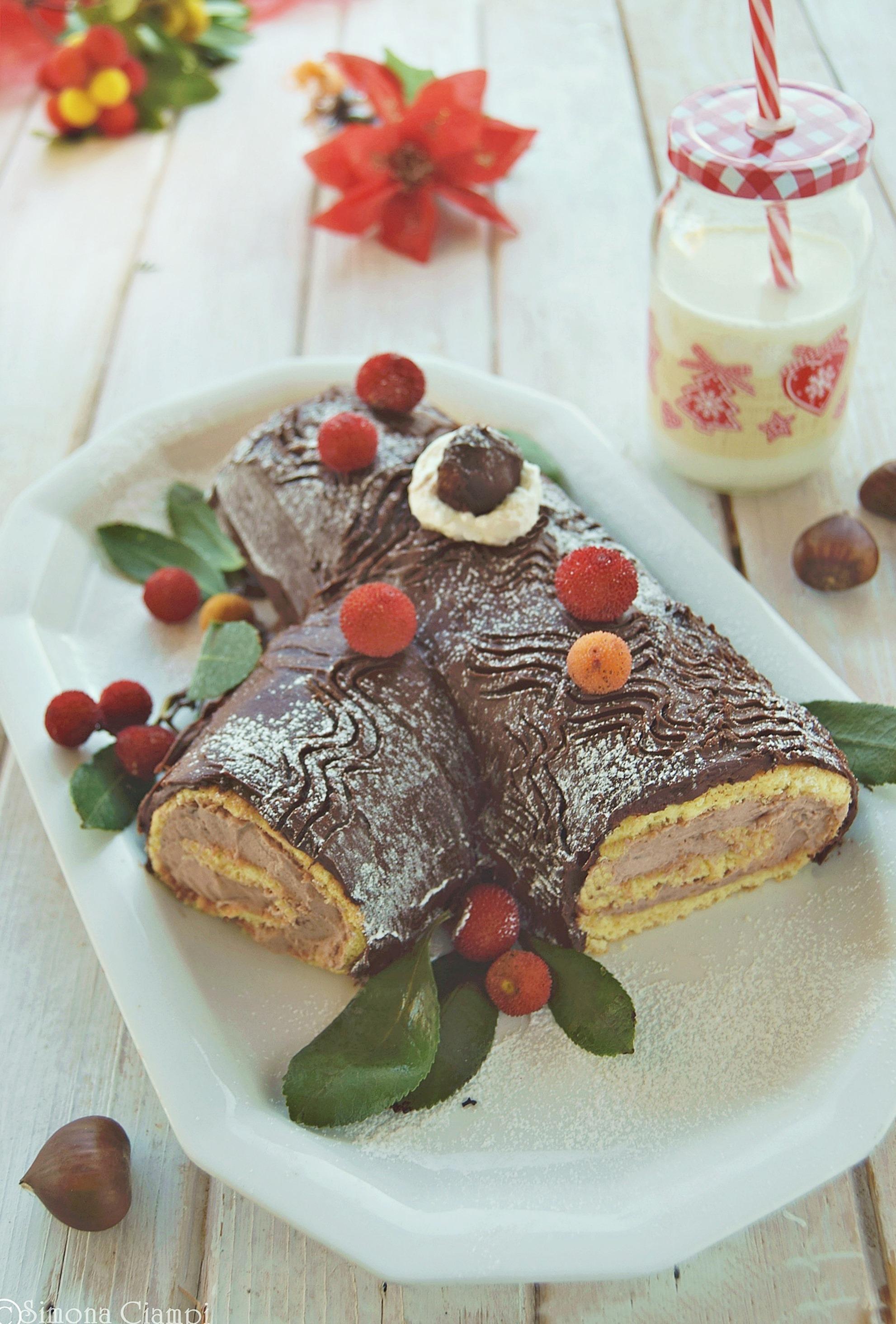 Tronchetto Di Natale Con Marmellata Di Castagne.Tronchetto Di Natale Alle Castagne