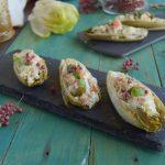 Indivia belga gratinata con salmone e olive