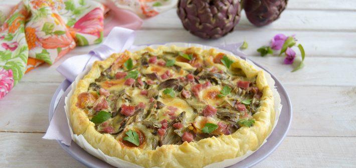 Torta salata ai carciofi cotto e scamorza affumicata