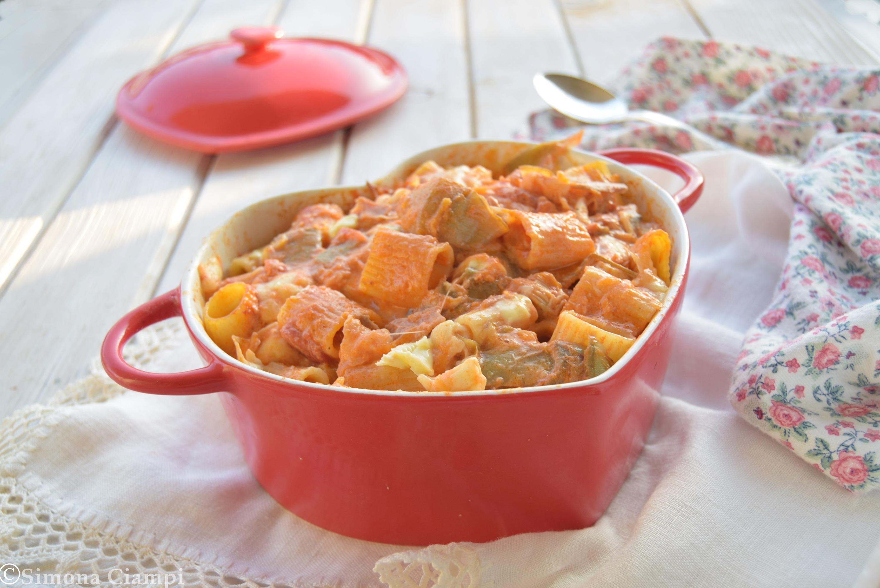 Ricetta pasta al forno con carciofi, zucca e speck