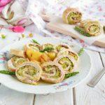 Girelle di tacchino ripiene di speck e crema di asparagi e scamorza