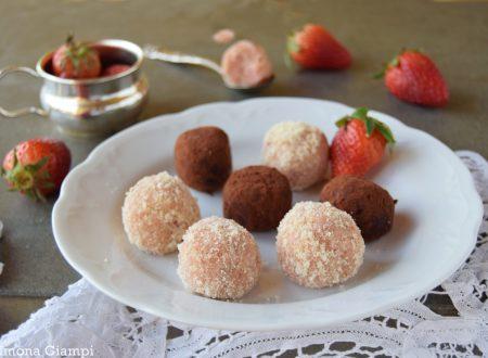 Tartufi alle fragole e cioccolato bianco-ricetta veloce