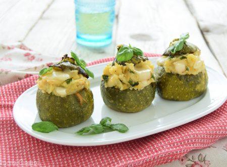 Zucchine tonde ripiene di patate e scamorza-cottura col trucco