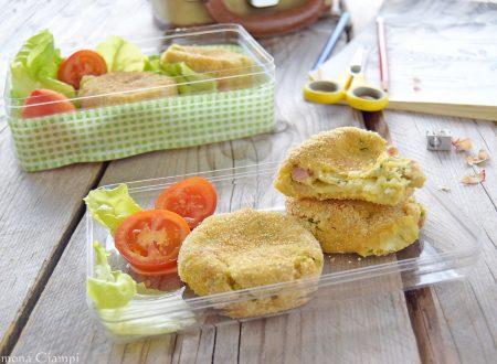 Polpette di zucchine e patate con cotto e mozzarella al forno