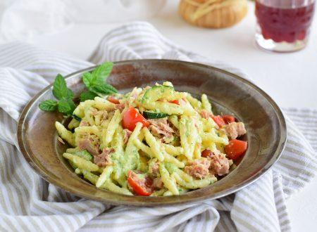 Trofie con crema di zucchine e tonno