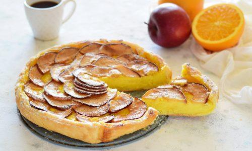 Torta di sfoglia e mele e crema all'arancia