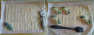 Fazzoletti di pasta sfoglia agli spinaci e ricotta