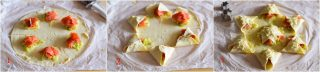 Stella di pasta sfoglia salata salmone e porri-