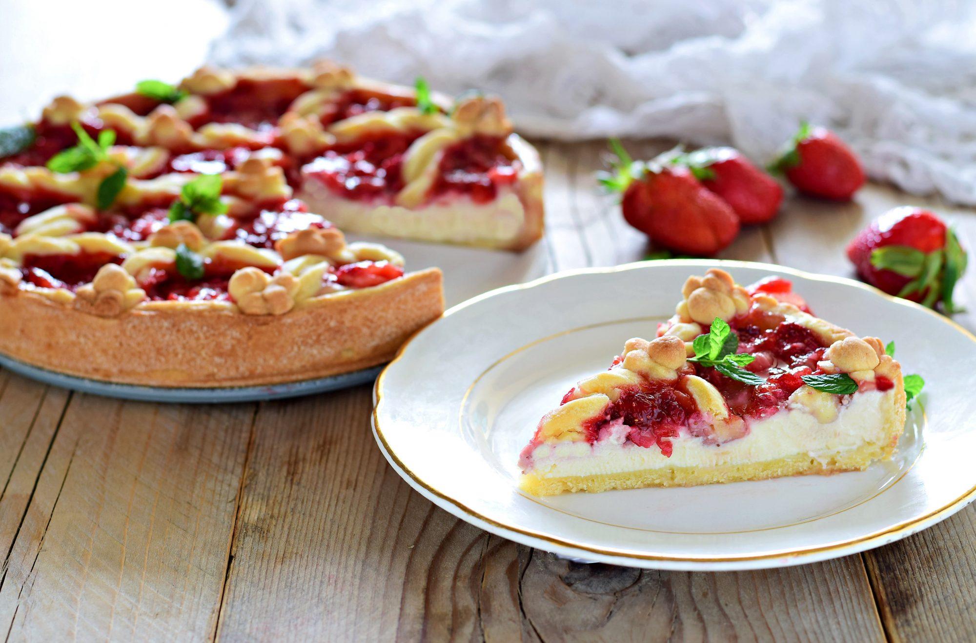 Crostata ricotta e fragole con mascarpone