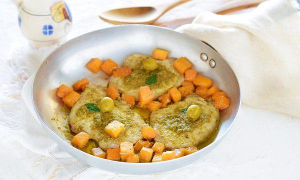 Scaloppine di maiale con pesto di olive e zucca