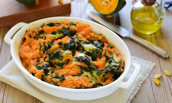 Sformato di zucca spinaci e patate con mozzarella