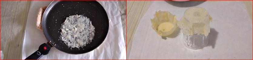 Cestini di Parmigiano con rucola noci e champignon-antipasto sfizioso