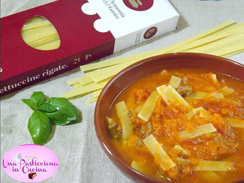 Fettuccine alla Zucca e Carne Tritata