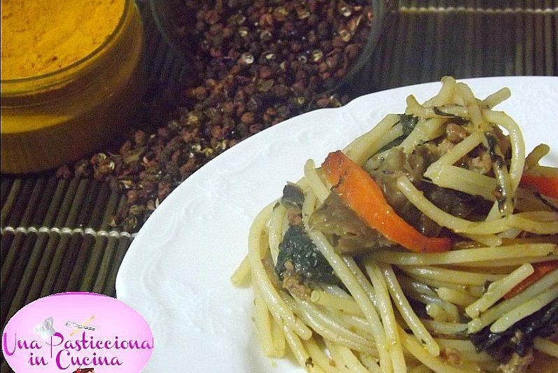 Spaghetti Saltati con Carne Verdure e Funghi