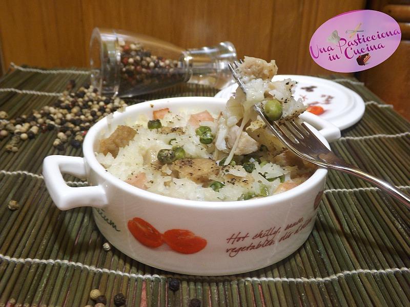 sformato di riso con pollo, piselli e prosciutto
