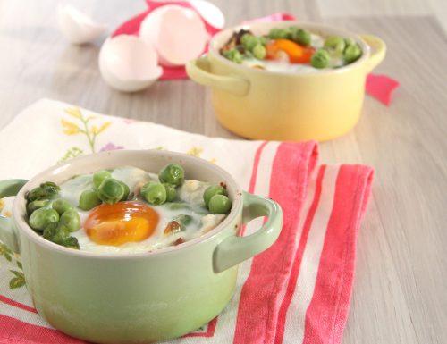 Uova al forno con ricotta guanciale piselli