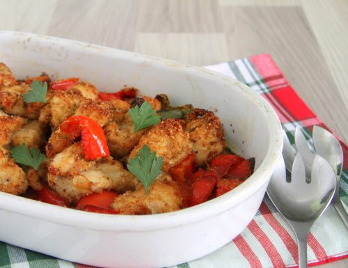 Petto di pollo e peperoni gratinati