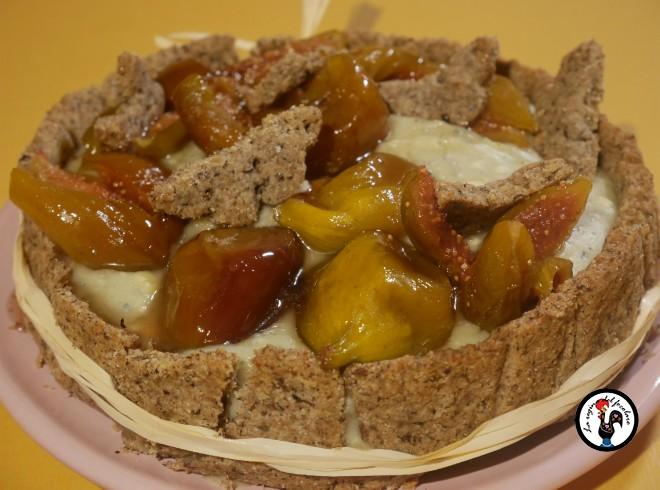 Crostata alle noci con crema al gorgonzola e fichi caramellati