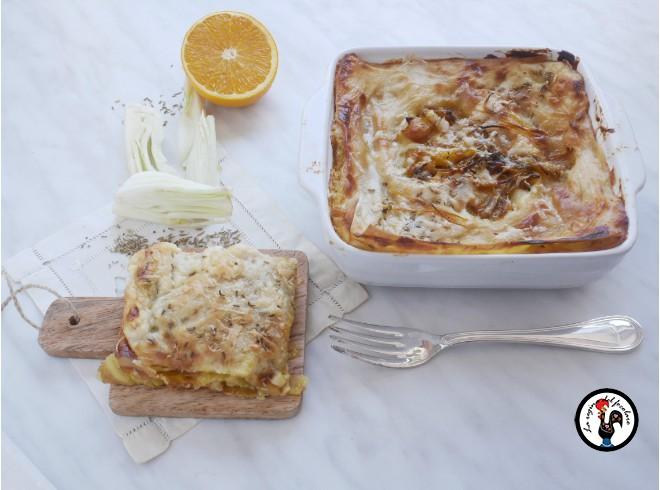 Lasagne finocchio, arancia e zafferano