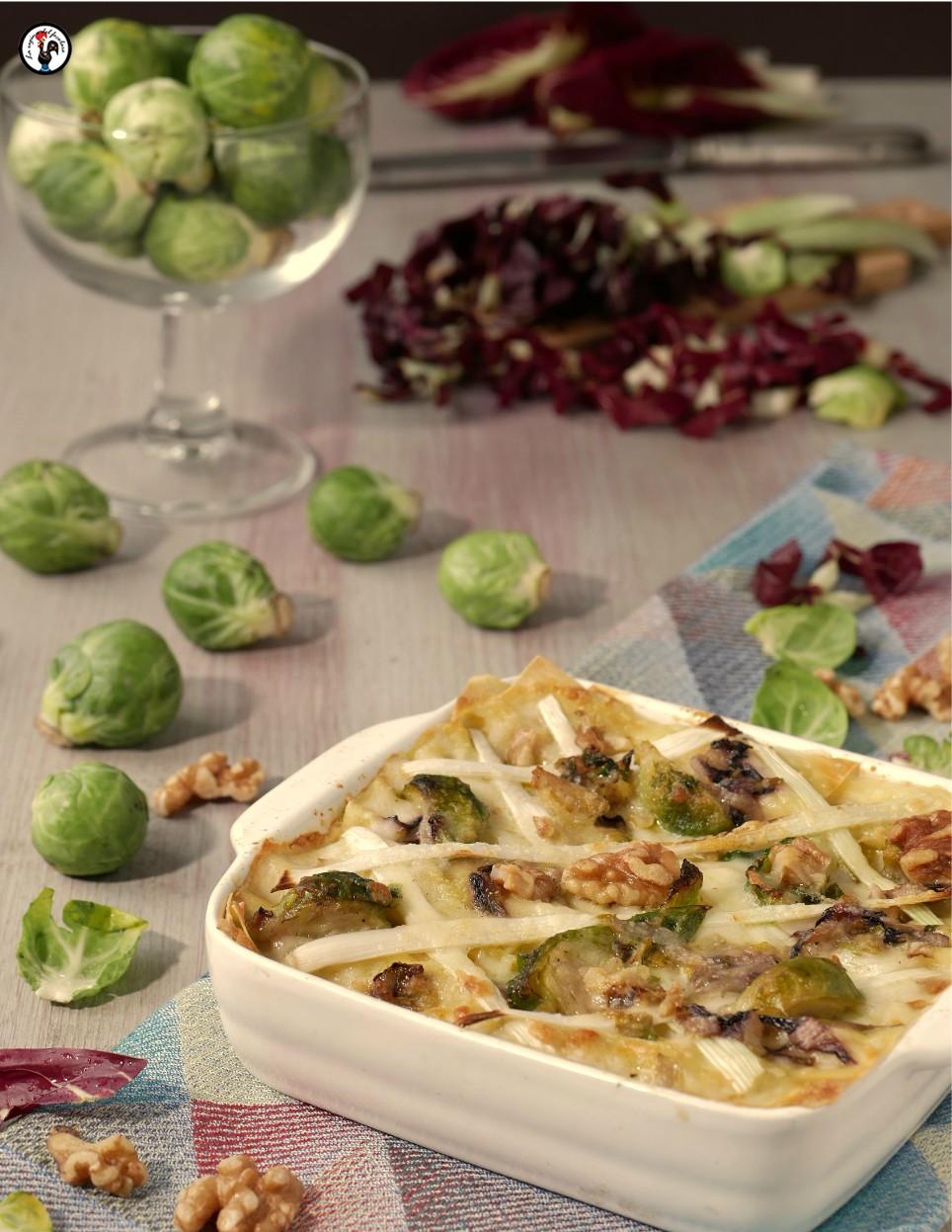 lasagne vegetariane con radicchio e cavolini di Bruxelles