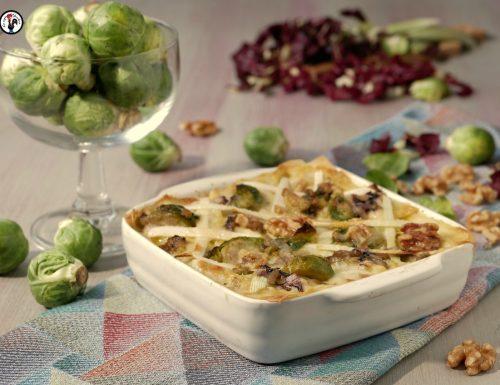 Lasagne al forno radicchio e cavolini di Bruxelles – Ricetta vegetariana veloce