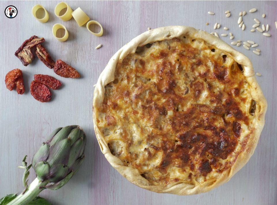 Pasta al forno con i carciofi in crosta