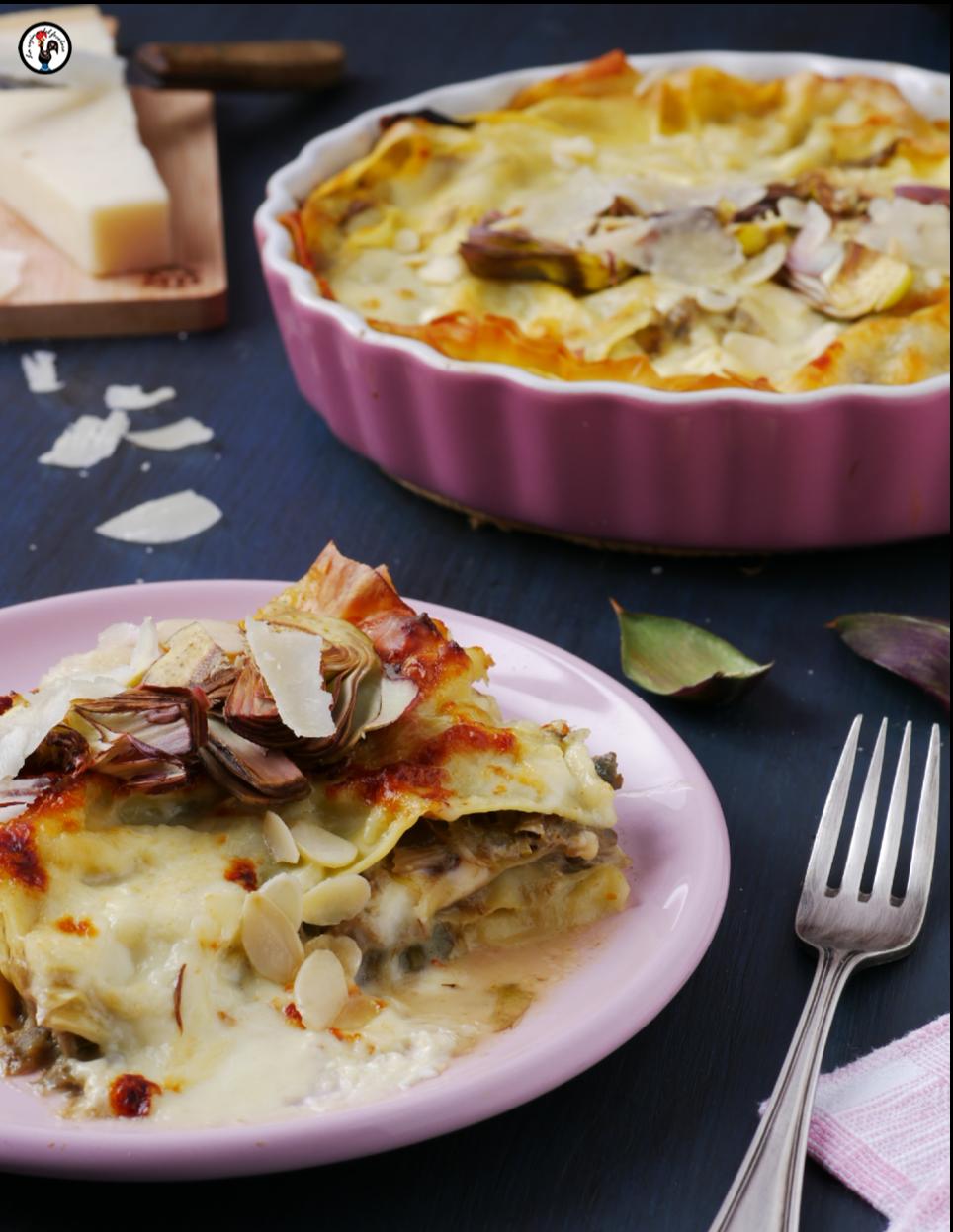 Lasagne vegetariane veloci con carciofi e stracchino