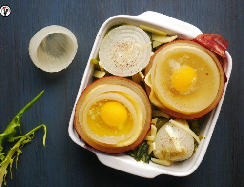Cipolle al forno con provola e uova