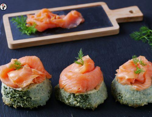 Sformatino di spinaci – Antipasto con salmone affumicato
