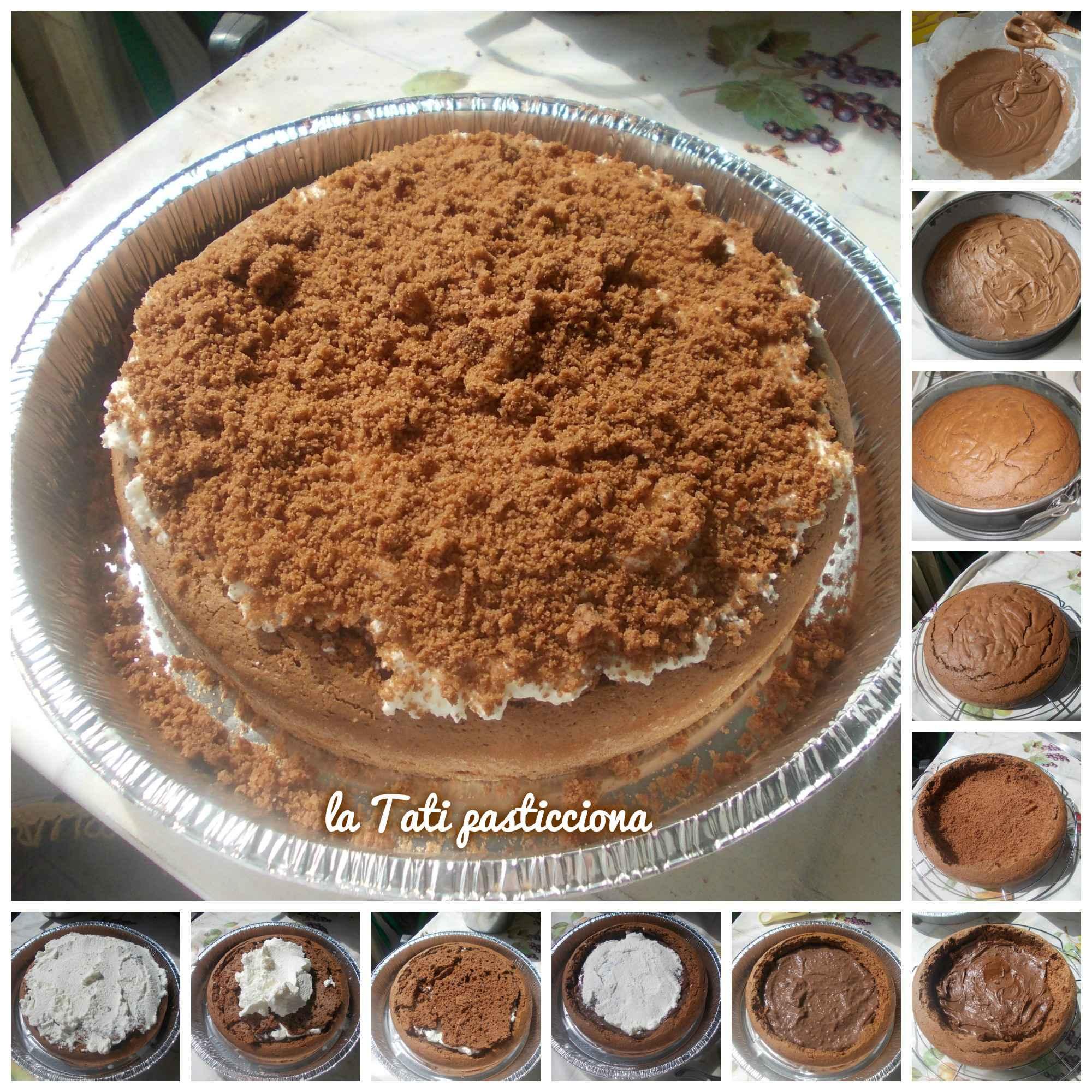 Torta mimosa al cioccolato con nutella, crema al cacao e panna