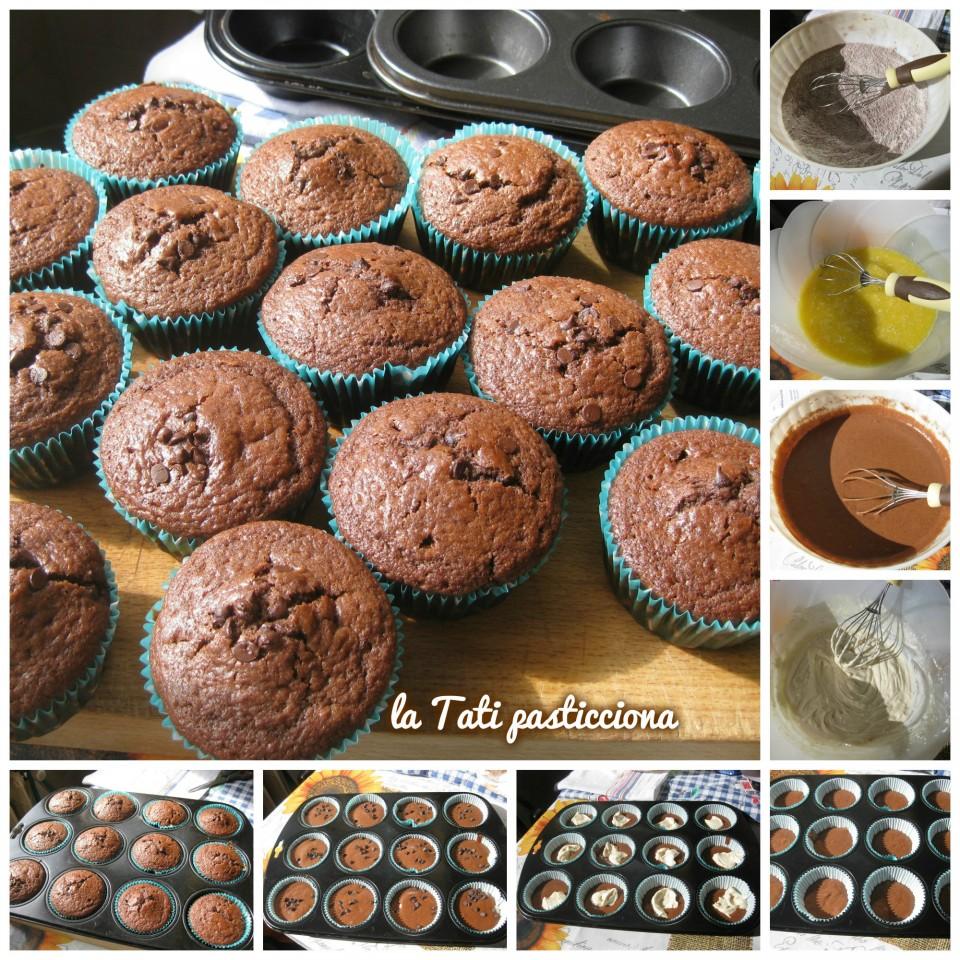 Muffin al cacao ripieni di crema al Baileys