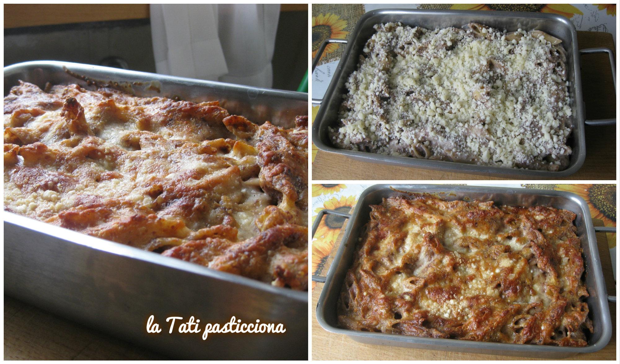 Pasta al forno con radicchio, speck e besciamella al taleggio