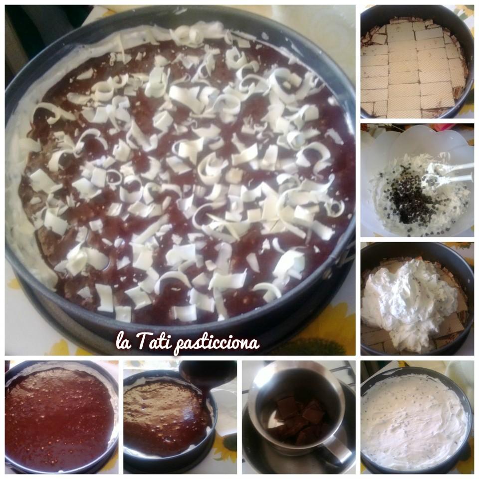 Cheesecake alla Panna con Wafer alla Nocciola, Glassa alla Nutella e Riccioli di Cioccolato Bianco