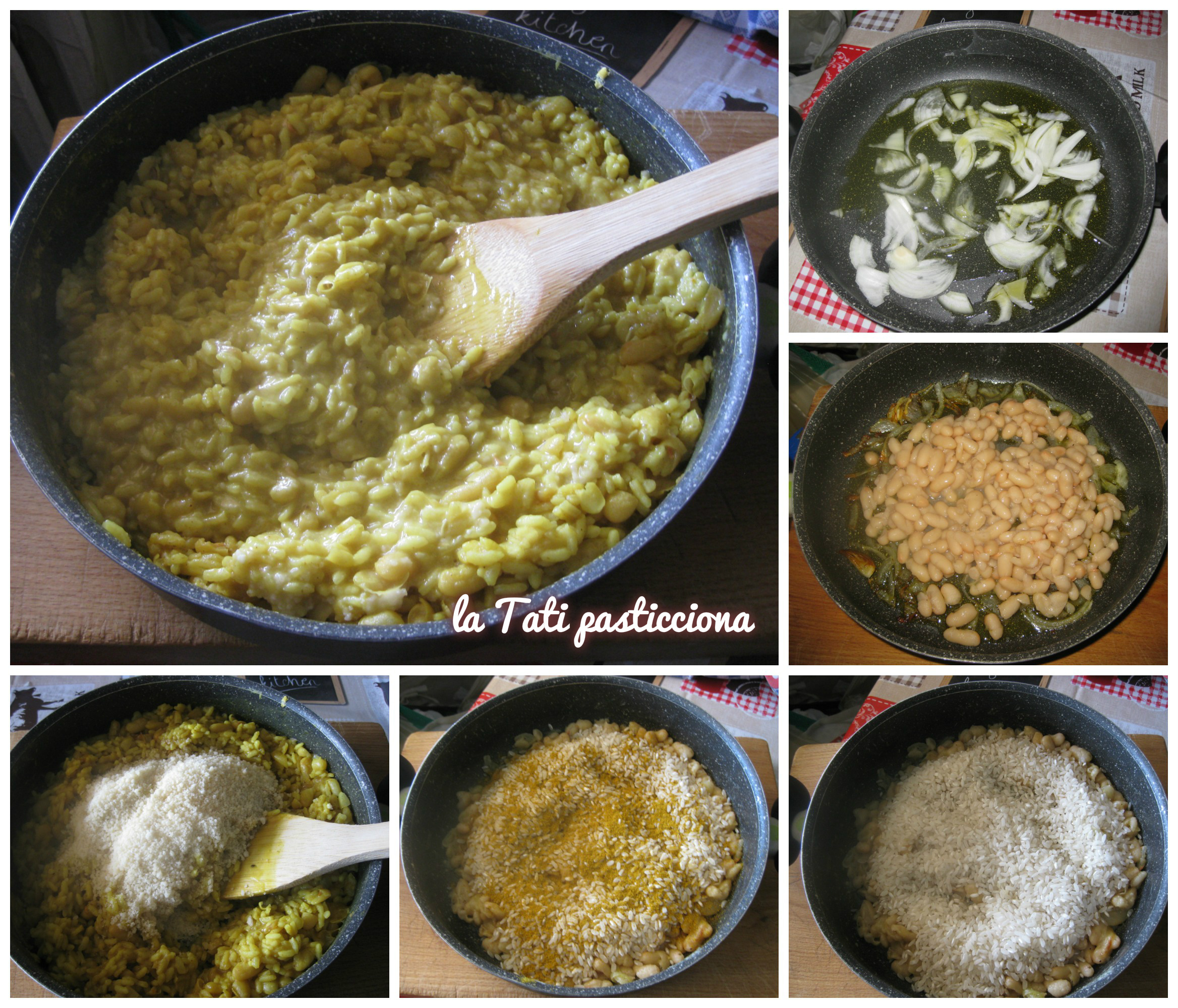 Risotto con fagioli, curry e parmigiano
