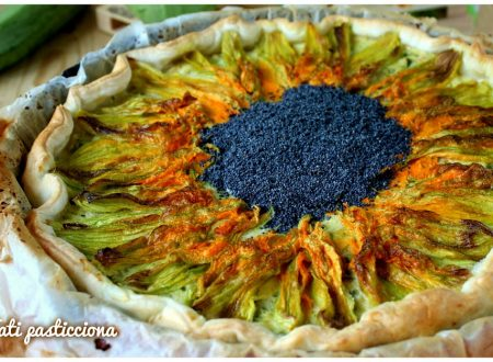 Girasole salato con fiori di zucca e zucchine