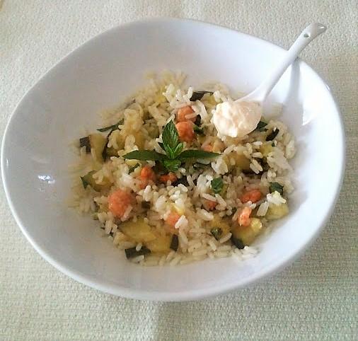 Riso con gamberetti zucchine e menta
