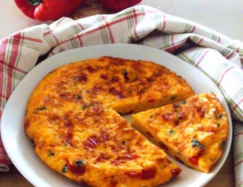 Torta di pane e peperoni in padella