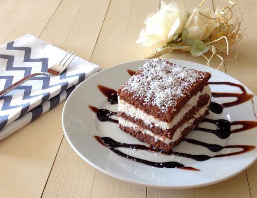 Mattonella al cocco e cioccolato con pasta biscotto