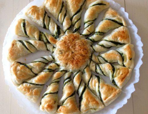 Torta girasole ricotta e spinaci con pasta sfoglia
