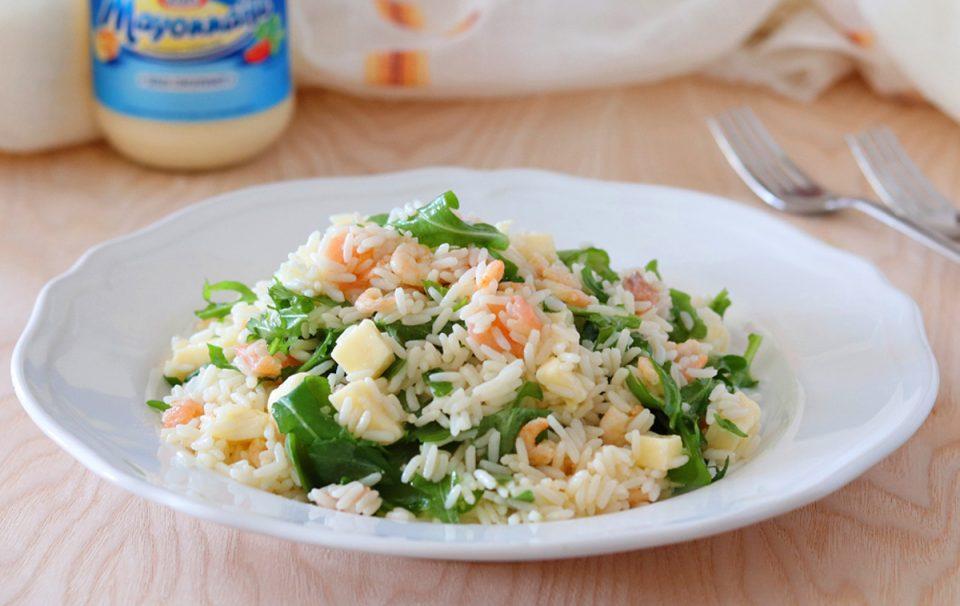 Insalata di riso salmone e gamberetti