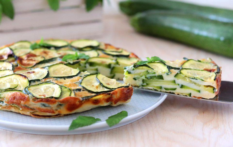 Torta invisibile di zucchine fetta