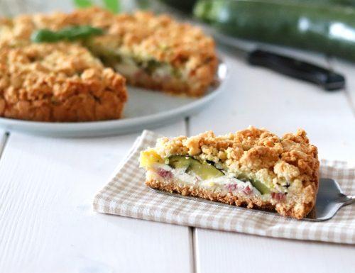 Torta sbriciolata salata zucchine e speck