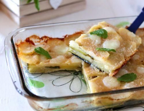 Parmigiana bianca di patate e zucchine messe a crudo